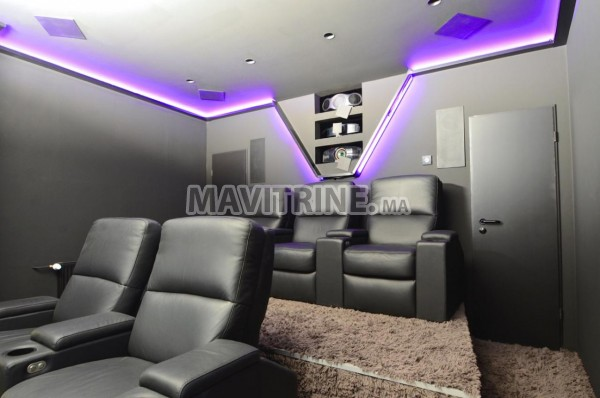 aménagement de salle de cinéma privé dans villa
