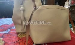 sac à main deux pièces de couleur beige